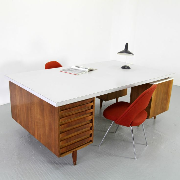mid century modern office desk. large mid century modern office desk 50s xxl architekten schreibtisch nussbaum