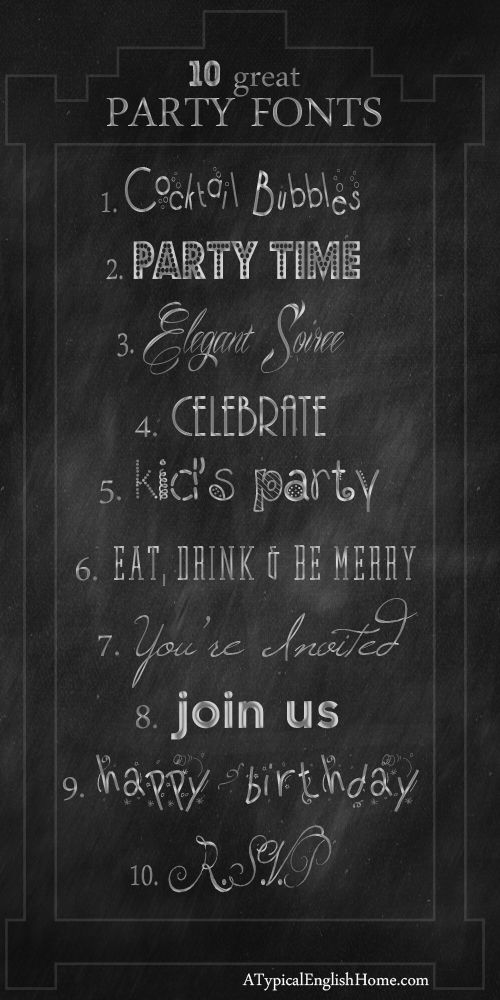 A Typical English Home: My Favorite Celebration and Party Fonts