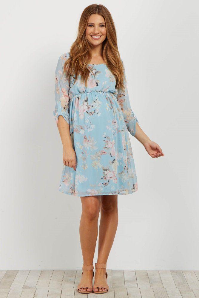 e6b95f56d49 Light Blue Floral Chiffon 3 4 Sleeve Maternity Dress
