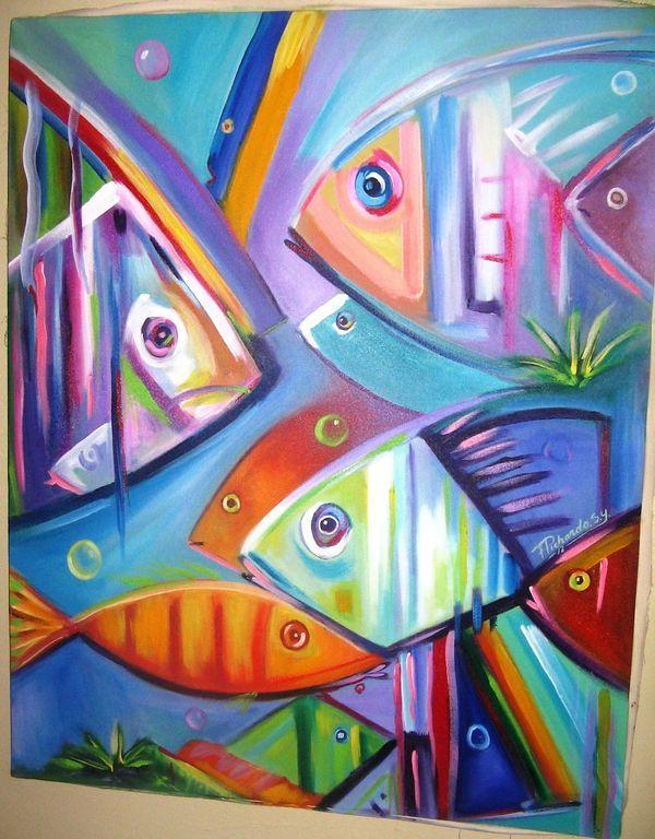 pintura de peces abstractos modernos - Buscar con Google