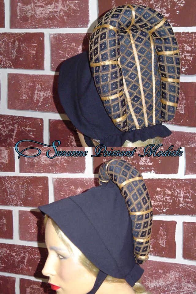 Chapeau médiéval pour dame. Création Suzanne Poissant Modiste