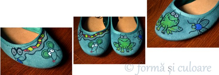 These were my shoes. After walking in the rain they I ruined them. I liked them, but I had no chance to wear them again. So, on a solid ground that nothing is to throw away, I covered them in drawings with happy animals in order not to see the sad shoes.