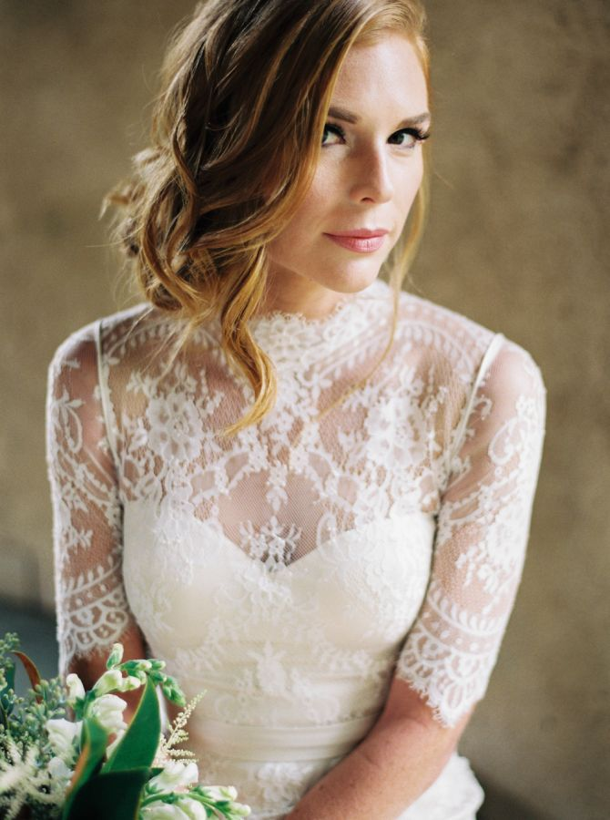 Gorgeous high neck illusion neckline wedding dress: http://www.stylemepretty.com/2015/11/25/english-inspired-autumn-wedding-inspiration/   Perry Vaile - http://www.perryvaile.com/