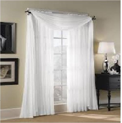 2pc Sheer Voile Panel Drape Curtain Window Treatment In
