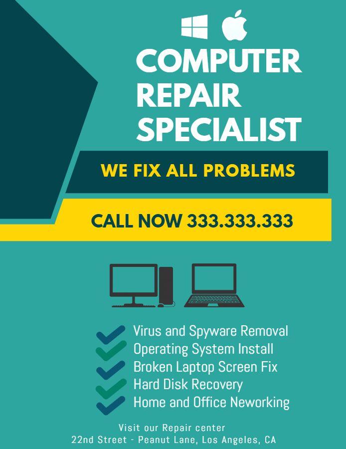 Computer Repair Flyer Template | Computer Repair Flyer Design Free Samples Phone Repair Flyer