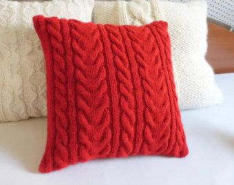 Custom Red Cable Knit Pillow Case Knit Throw by Adorablewares