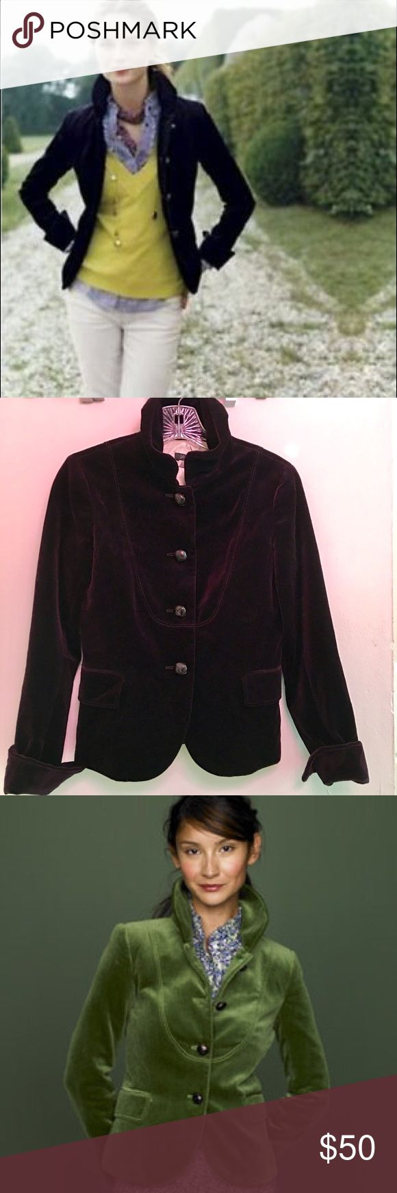 "J Crew Velvet Bella Jacket J Crew Velvet Bella Blazer in Deep Purple.  Fully lined, stand up ruffle collar, cuff sleeves, leather knot buttons.   **** Jacket for sale is in the deep purple color   🌺Chest: 17"" (armpit to armpit - flat lay) 🌺Length: 21.5"" (shoulder to hem) J. Crew Jackets & Coats"
