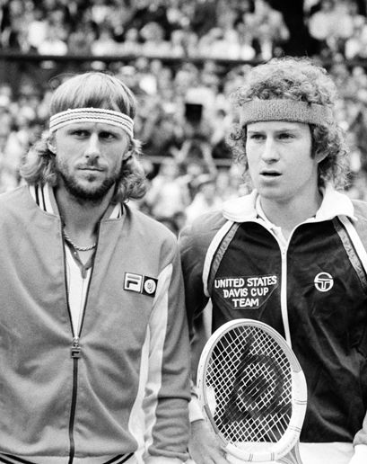 Was tennis ever cooler??? Tennis' Top Two Slug Out Marathon Final - 7/5/80 Number One ranked Bjorn Borg bests number two John McEnroe at Wimbledon's center court after a gruelingly historic 3 hour and 53 minutes match for the ages.