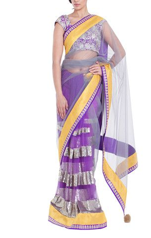 VIKRAM PHADNIS 'Half and half' purple net concept saree. Wide silver sequin and mustard yellow, raw silk border.  Grey net with purple and silver detailing throughout.  Matching raw silk, semi-stitched blouse included, fully embroidered in purple and silver 'zari' thread work with cute capped sleeves. #bollywoodsaree #Saree #zari
