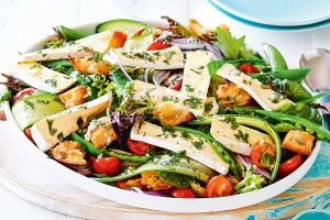 Spring pea salad with double brie