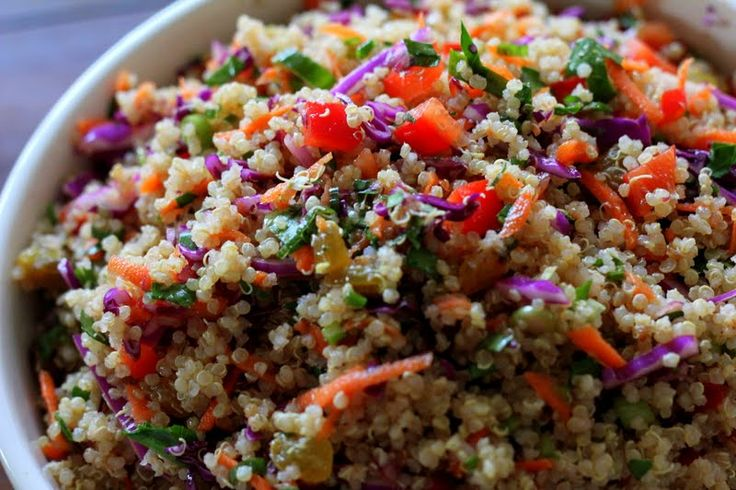 Quinoa Confetti Salad: Side Dishes, Clean Eating, Olives Oil, Quinoa Confetti, Red Cabbages, Green Onions, Red Belle Peppers, Rice Vinegar, Confetti Salad