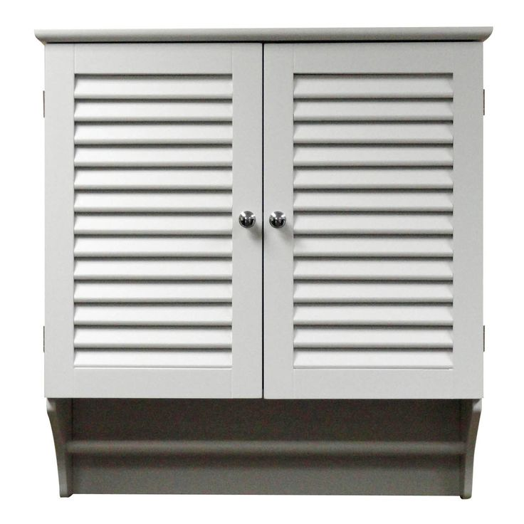 Wall Mounted Bathroom Cabinet with Shelves and Towel Bar in White - Quality House