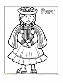 A coloring sheet for 1st graders about people from around the world. This one is of a Peruvian girl in traditional clothes.