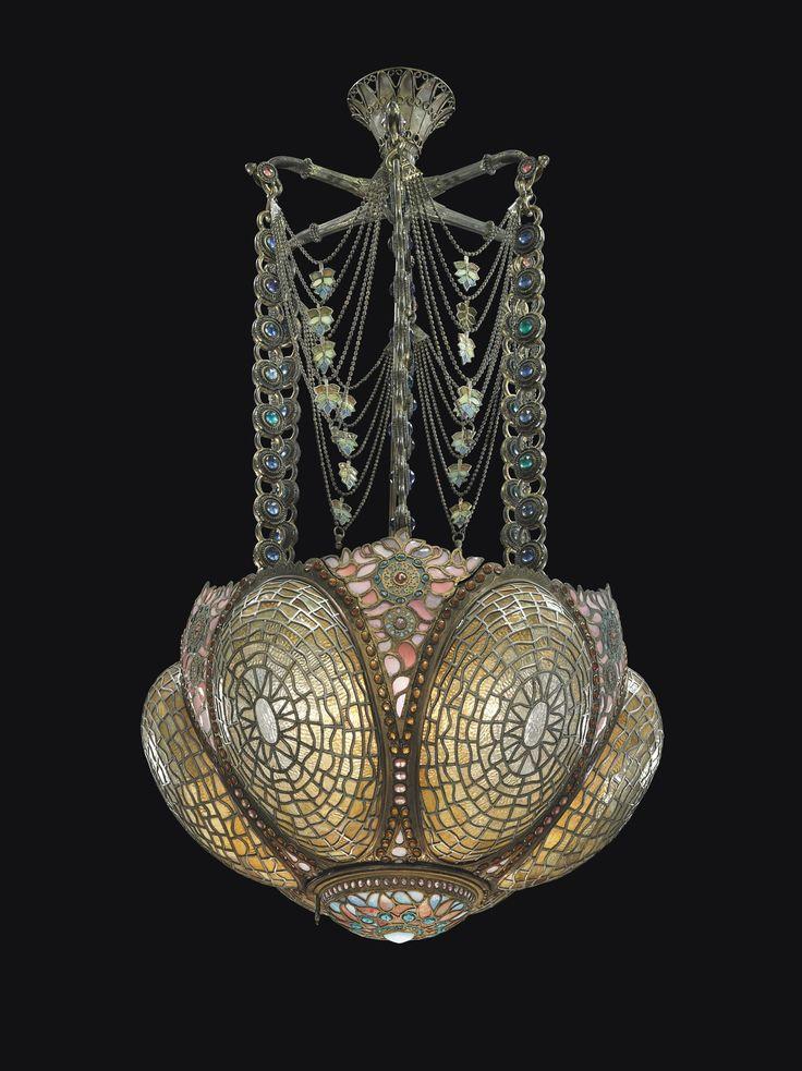 Tiffany Studios  -  Rare and Early Chandelier, Circa 1895