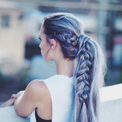 Long braided dark blue hairstyle