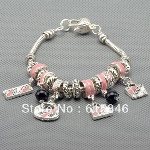 Шарм Браслеты и Браслеты, посеребренные браслеты для женщин, прекрасные розовые шарики шарм браслеты ювелирные бесплатная доставка Pa1011