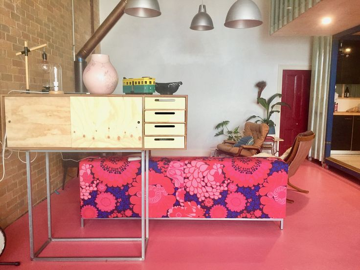 Benz folklore Ikea sofa cover with bold bright pink painted floor -  Sawhorse Construction Design and Build, Melbourne Australia 0425 761 131