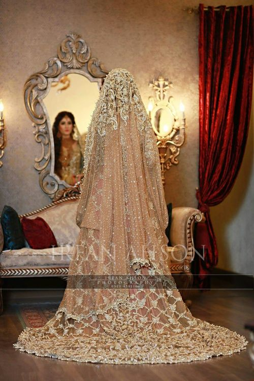 Pakistani Peach Bridal Dress | Stunning Embroidery Work | Irfan Alison Photography