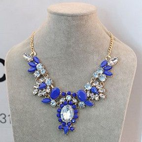 Acrylic Geometric Gemstone Gold Color Chain Statement Necklace