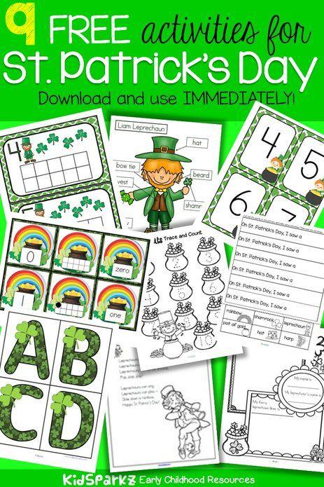 9 free preschool and kindergarten activities for St.Patrick's Day