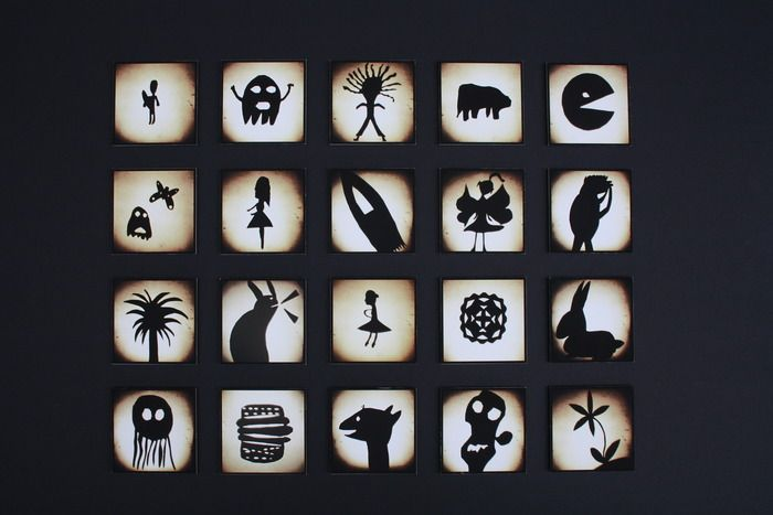 Auction item '6D - Shadow Puppets' hosted online at 32auctions.  My daughter Lucia's Class Art. Her one is the ballerina.