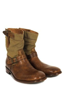 leather and canvas boots; Belstaff Barkmaster Canvas Antique Cuero Boots