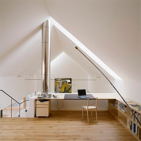 innovative attic interior work studio area house design