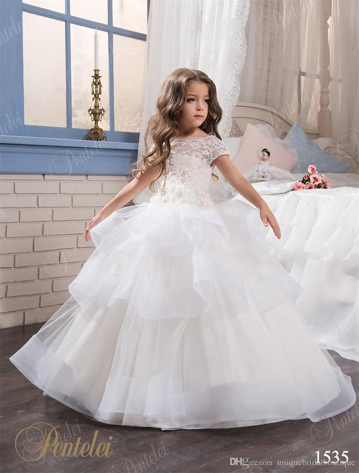 Mother Daughter Dresses With Cap Sleeves And Tiered Skirt 2017 Pentelei Lace & Organza Princess Flower Girls Gowns For Weddings Infant Flower Girl Dress Ivory Chiffon Flower Girl Dresses From Uniquebridalboutique, $82.02| Dhgate.Com