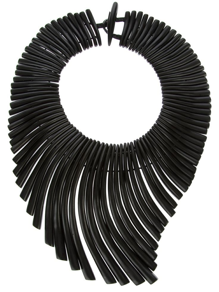 Monies Black resin 'Collana' necklace featuring multiple slim strands and a hook fastening.