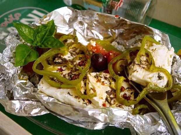 φέτα ψητή με πιπεριές