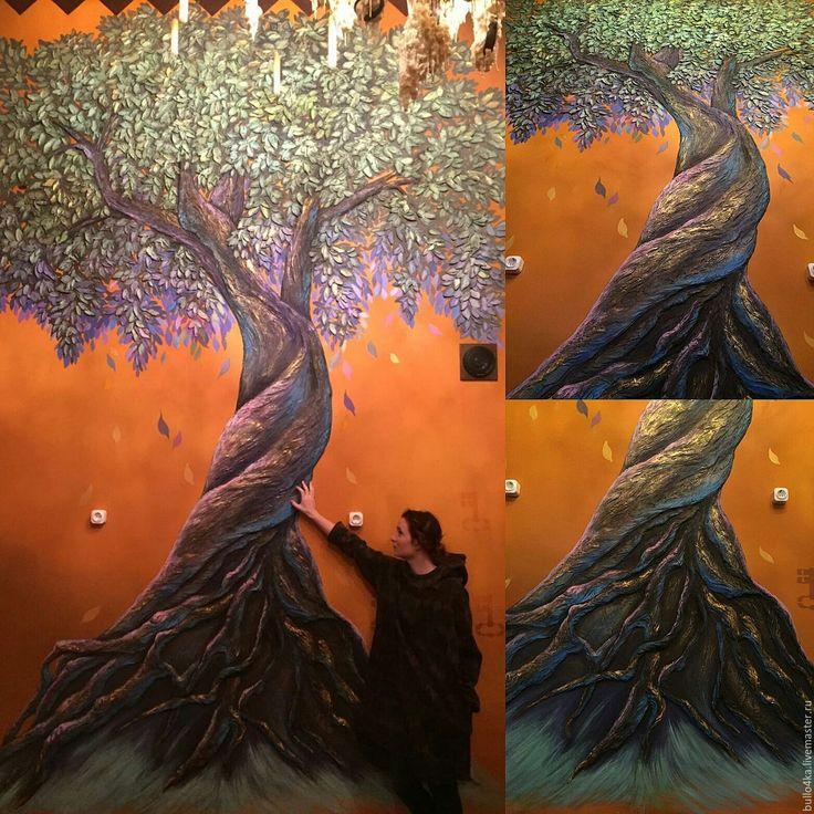 """Купить """"Дерево""""барельеф - комбинированный, барельеф, барельеф панно, барельеф на стену, дерево, волшебный лес"""
