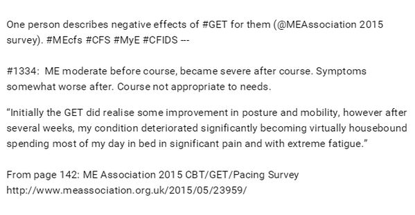 """""""My condition deteriorated significantly becoming virtually housebound spending most of my day in bed in significant pain and with extreme fatigue""""  From: ME Association 2015 CBT/GET/Pacing Survey http://www.meassociation.org.uk/2015/05/23959/"""