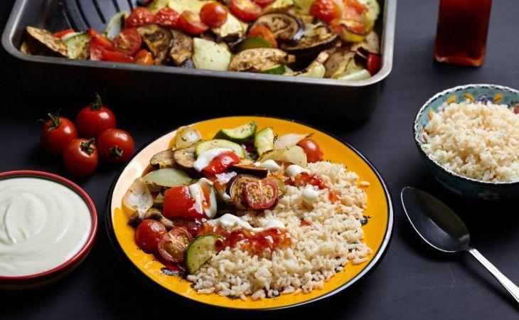 Geroosterde groenten met knoflooksaus