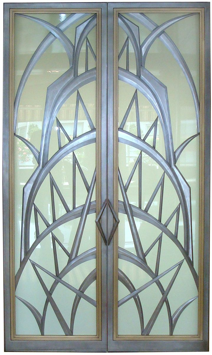 Art Deco style glass doors, created by Eric David Laxman for a penthouse apartment in New York City with spectacular views of Manhattan, including the Chrysler Building. architecture, design