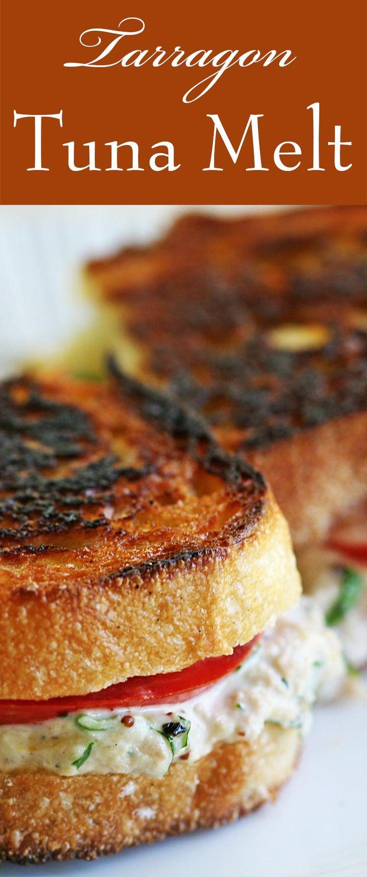 Tarragon Tuna Melt ~ Classic grilled cheese tuna salad sandwich with ...