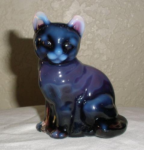 Fenton Art Glass Purple Plum Opalescent Cat RARE Original Gift Shop Label WV | eBay