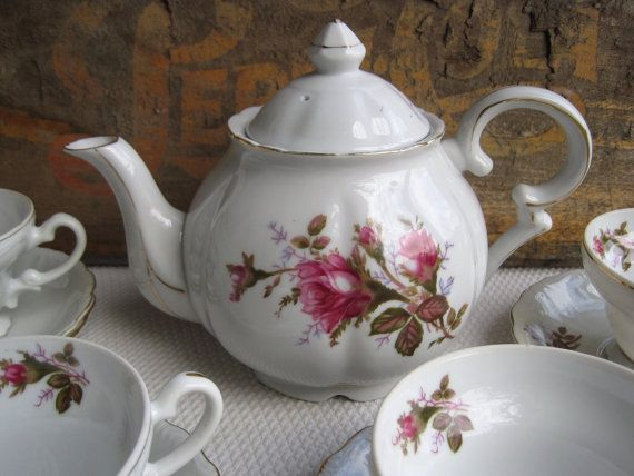 Vintage Royal Rose by Fine China of Japan Tea Set by corrnucopia, $175.00