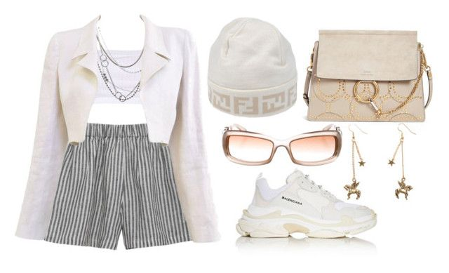 """""""Sem título #356"""" by gothic-girly ❤ liked on Polyvore featuring le vestiaire de jeanne, Topshop, Brash Bijoux, Chanel, Fendi, Balenciaga, Chloé and Gucci"""