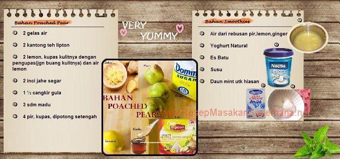 Resep Dessert - Bahan Poached Pear & Smoothies  #resep#masakan#sederhana#makanan#penutup#pear#seger#enak#bahan#smoothies#  youtube : https://www.youtube.com/watch?v=KdPyKqCXSPc  Nb : website (http://ResepMasakanSederhana.net/) kami dalam proses pembuatan :)