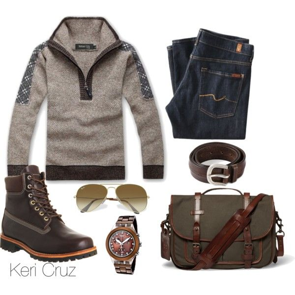 Men's Winter Fashion by keri-cruz on Polyvore featuring Swatch, Ray-Ban, Polo Ralph Lauren, 7 For All Mankind, Timberland and Orciani