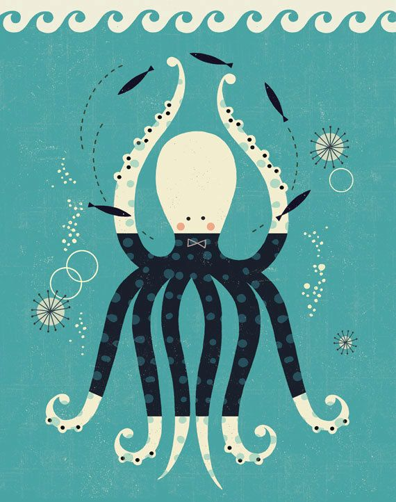 Playful Octopus print by Tracy Walker Ink