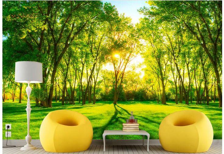 3d обои на заказ фотография нетканые росписи картина стикер стены солнечный свет зеленые деревья живопись 3d стены комнаты фрески обои