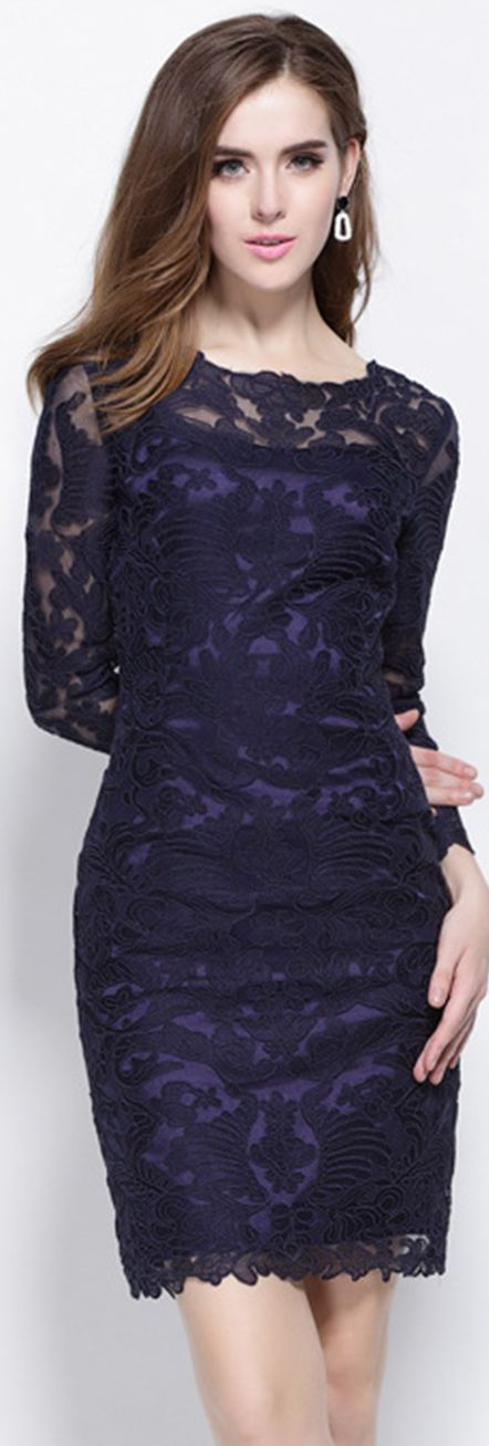 Navy Blue Round Neck Long Sleeves Embroidered Dress