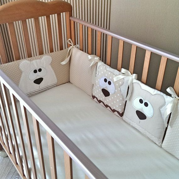 This crib bumper can be made for your baby ;) The set contains: 4 pillows with size 30*30 cm and two pillows with size 60*30 cm (the total length of the bumper is 240 cm) There is two layers of sintepon inside the pillow. Every pillow has a zipper for convenient washing. Four pillows have beautiful appliques in the shape of lovely bears ;) Pillow covers maid of 100% cotton.  You may choose another colour, size or animal for applique ;)  Lets turn your babys room in a fairytale together ;)