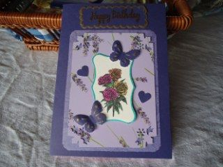 Butterflies and Lavendar  I used the side of a gift box of lavender products I had got for a birthday as it was such pretty cardboard