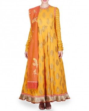 Orange Embellished Anarkali Kurta Set