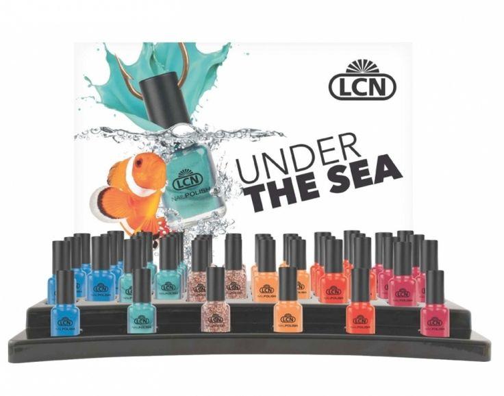 """nhoud: Nagellak """"UNDER THE SEA"""" in 8 ml Inhoud display: van elk 1 tester en 6 stuks verkoopproducten incl. een """"UNDER THE SEA""""-poster, DIN A1  Art.-Nr.: 89345 // 6er assortiment"""