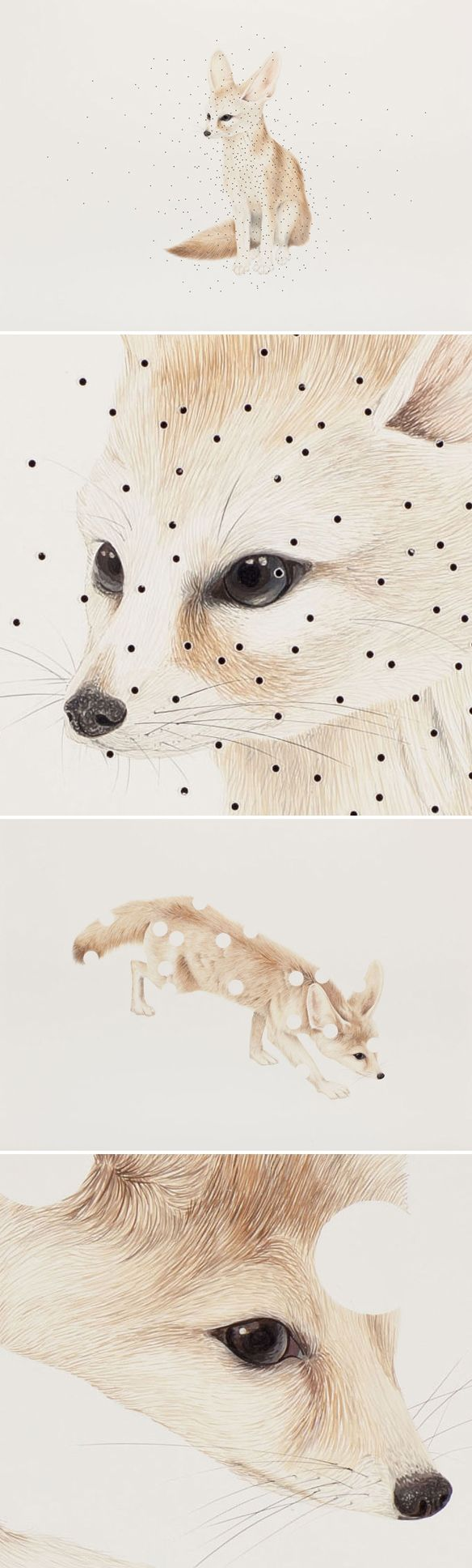 marcela cardenas - gouache on board (with perforated holes)