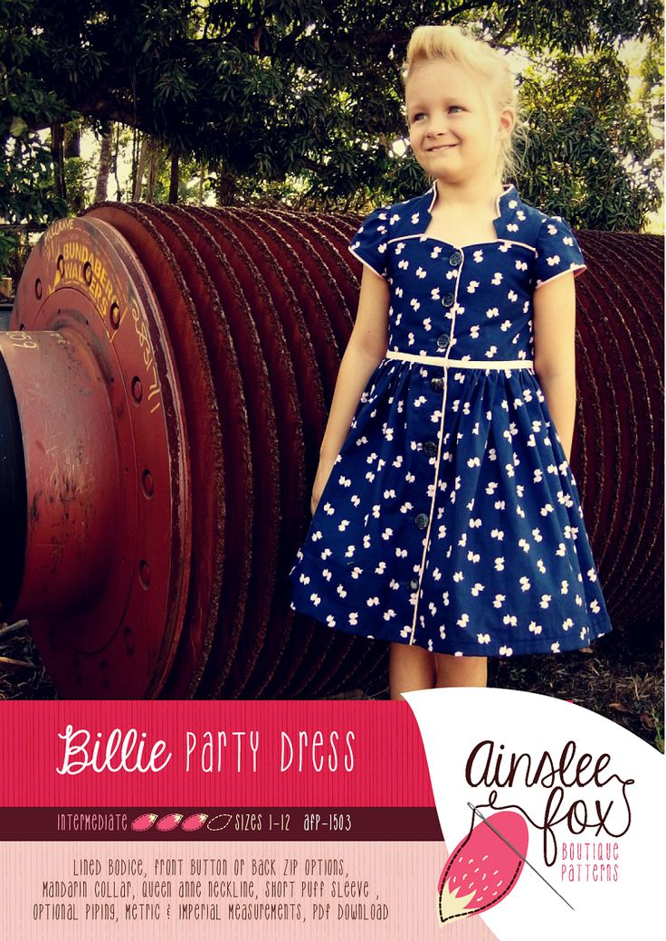 "Love the neckline The Billie Dress is a Rockabilly inspired party dress. It features a mandarin collar and Queen Anne neckline for that WOW factor! When you've sewn your Billie Dress you'll have everyone asking, ""Where did you get that dress?!!"". The pattern includes pattern pieces and instructions for making your Billie Dress with either a zip back o..."