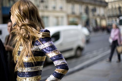 Sparkling stripes: Party Dresses, Silver Hairs, Fashion Week, Saia Mini-Sequins, Jackets, London Street Styles, Sparkly Dresses, Stripes, Anna The Russian